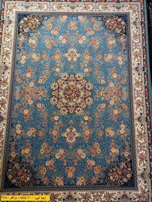 فرش ابیانه زیبا آبی