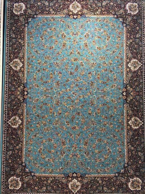 فرش ابیانه گلفرنگ آبی