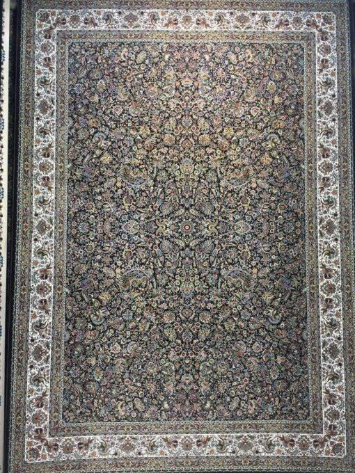 فرش ابیانه گل مرغ سرمه ای
